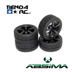 ABSIMA WHEEL SET ONROAD 5 SPOKE BLACK (4 PCS)