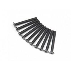 SCREW COUNTERSUNK HEX 3X26MM STEEL BLACK (10PCS)