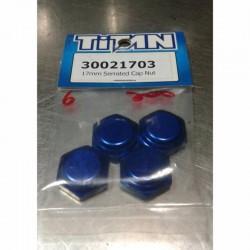 TITAN 17MM 1/8 OFF ROAD ALUMINUM SERRATED NUT  (4PCS)